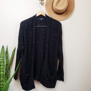 American Eagle Black White Fleck Cardigan Sweater